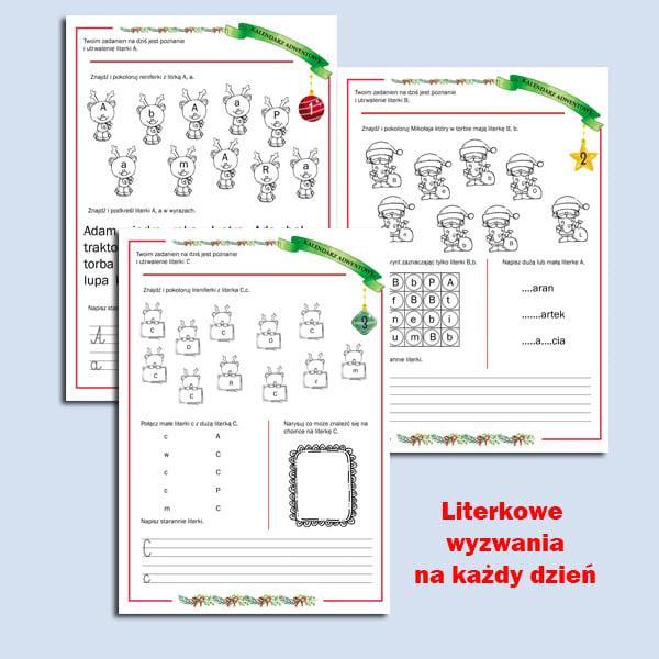 """kalendarz adwentowy j. polski """"Literki"""""""